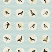 Seamless pattern with cute birds — Stock Vector