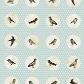 Bezešvé vzor s roztomilé ptáky — Stock vektor