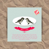 Cartolina di san valentino con uccelli — Vettoriale Stock