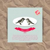 情人节卡与鸟 — 图库矢量图片