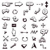 Conjunto de setas de mão desenhada — Vetorial Stock