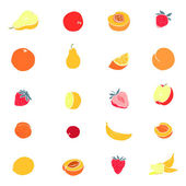 Various fruit icons set — Stock Vector