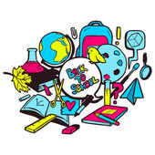 Back to school colorful illustration — Stockvector