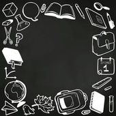 School elements drawn on blackboard — Vector de stock