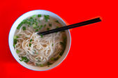 Bowl of simple wheat noodles, Beijing, China — Stockfoto