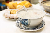 Classic Hong Kong congee served in local cafe — Stock Photo