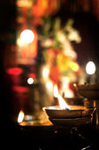 Flickering candle inside Man Mo Temple, Sheung Wan, Hong Kong — Stock Photo