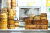Stacked dim sum steamers at a Hong Kong restaurant — Stock Photo