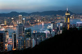Hong Kong evening cityscape and Central Plaza — Stock Photo