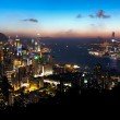 View of Hong Kong Island and Victoria Harbour at sunset — Stock Photo