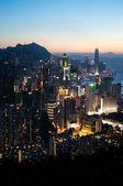 Hong Kong Island cityscape at dusk — Stock Photo