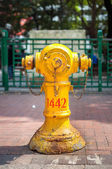 Yellow fire hydrant on a Hong Kong street — Stock Photo