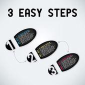 3 つの簡単な手順 — ストックベクタ
