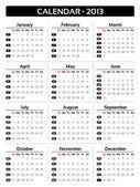 Card Calendar 2013 - Sunday-Saturday edition — Stock Vector