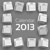 3d cube calendar 2013 — Stock Vector