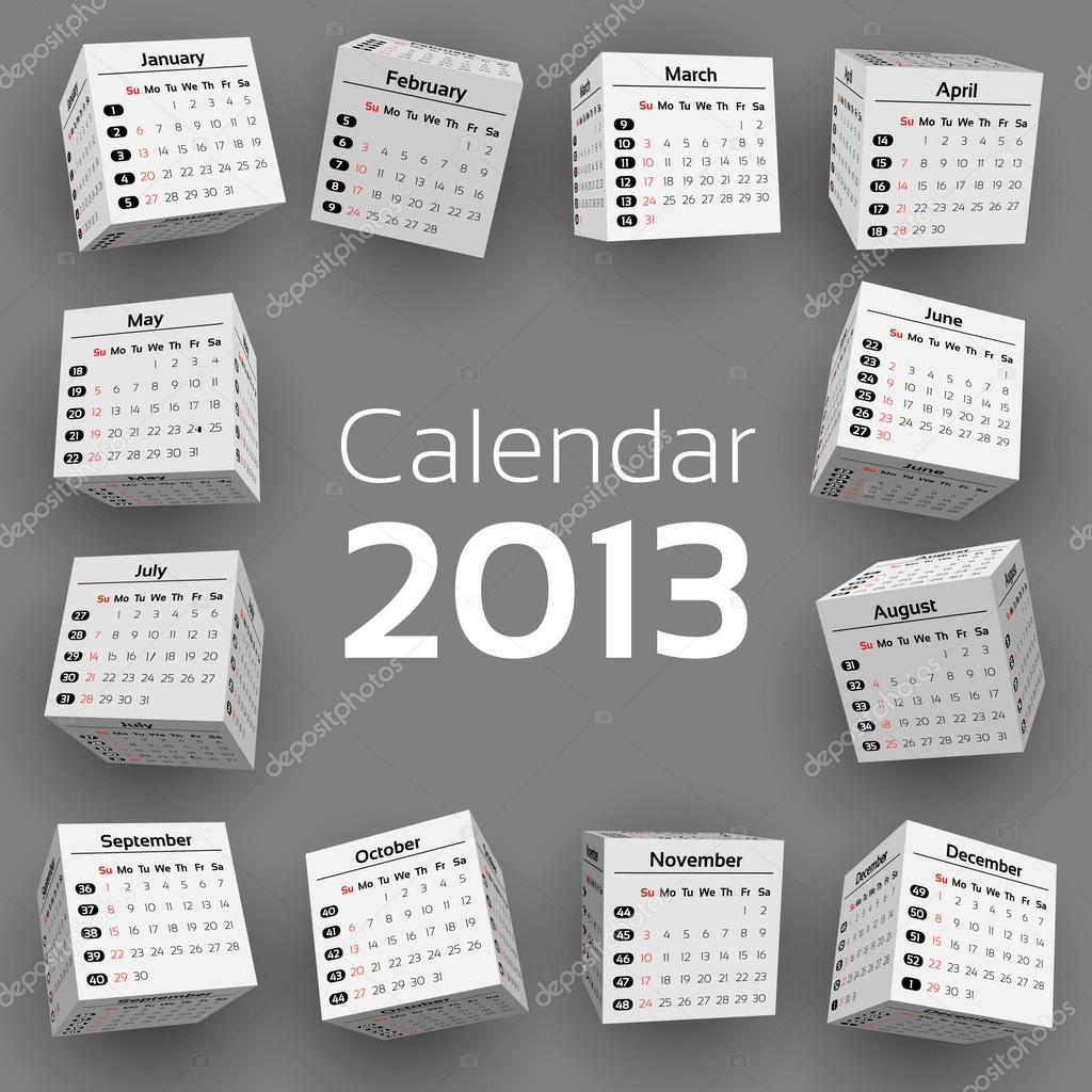 3d calendar on light background  Stock Vector #13919679