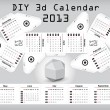 Stock Vector: 3d DIY Calendar 2013 3,1×2,9 inch compiled size