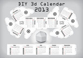 3d DIY Calendar 2013 3,1×2,9 inch compiled size — Stock Vector