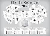 3d DIY Calendar 2013 3,1×2,9 inch compiled size — Stock Vector