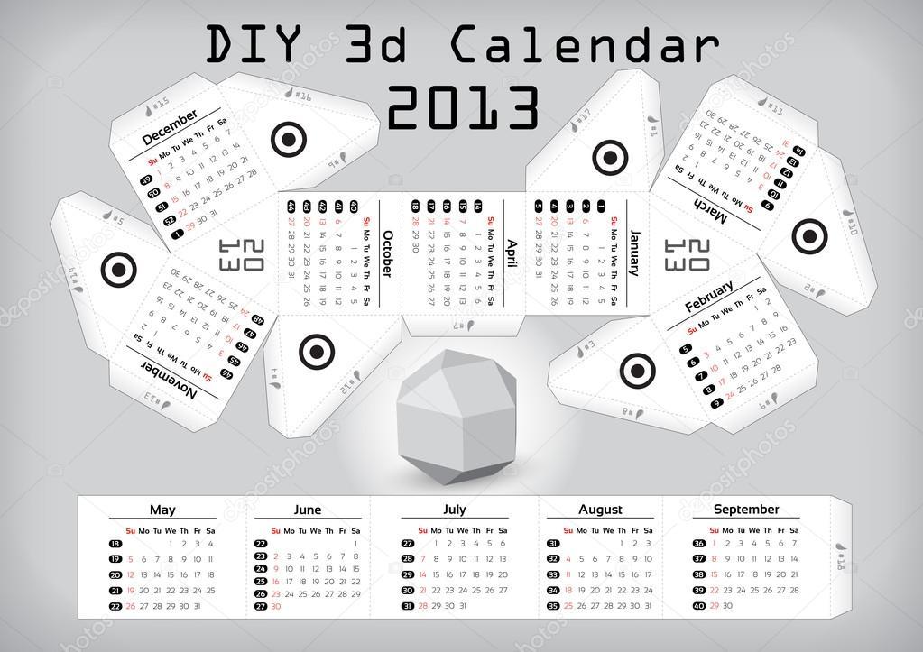 Diy Editorial Calendar : D diy calendar  inch compiled size — stock
