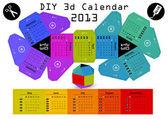 3d DIY Calendar 2013 3,1×2,9 inch compiled size — Vector de stock