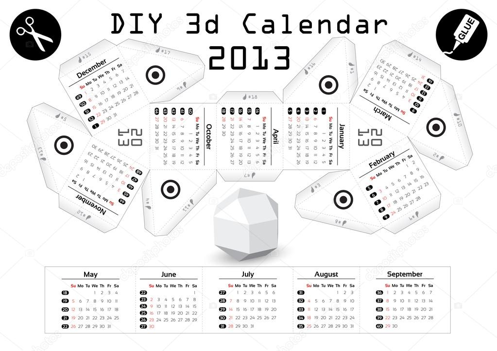 Diy Calendar Size : D diy calendar  inch compiled size — stock