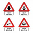 Stock Vector: Xmas Traffic Sign Set