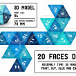 Stock Vector: 20-sided papercraft dice