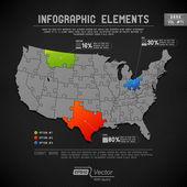 Detaillierte bunte infographik elemente - ein staat-ein puzzleteil — Stockvektor