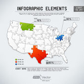 Подробные красочные инфографики элементы - одно государство один Паззл — Cтоковый вектор