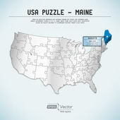 USA map puzzle - One state-one puzzle piece - Maine, Augusta — Stock Vector