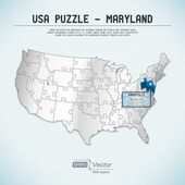 USA map puzzle - One state-one puzzle piece - Maryland, Annapolis — Stock Vector