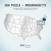 USA map puzzle - One state-one puzzle piece - Massachusetts, Boston — Stock Vector