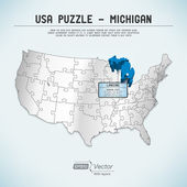 USA map puzzle - One state-one puzzle piece - Michigan, Lansing — Stock Vector