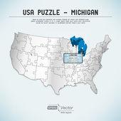 Usa karte puzzle - ein staat-ein puzzleteil - michigan, lansing — Stockvektor