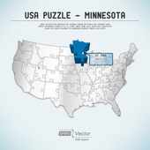 USA map puzzle - One state-one puzzle piece - Minnesota, St. Paul — Stock Vector