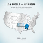 USA map puzzle - One state-one puzzle piece - Mississippi, Jackson — Stock Vector