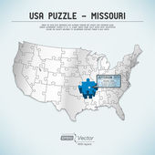 USA map puzzle - One state-one puzzle piece - Missouri, Jefferson City — Stock Vector