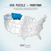 Usa karte puzzle - ein staat-ein puzzleteil - montana, helena — Stockvektor