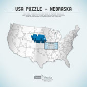 USA map puzzle - One state-one puzzle piece - Nebraska, Lincoln — Stock Vector