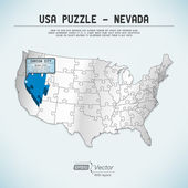 USA map puzzle - One state-one puzzle piece - — Stock vektor