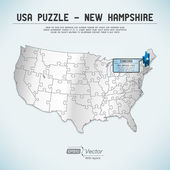 USA map puzzle - One state-one puzzle piece - New Hampshire, Concord — Stock Vector