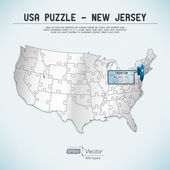 USA map puzzle - One state-one puzzle piece - New Jersey, Trenton — Stock Vector