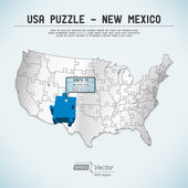 USA map puzzle - One state-one puzzle piece - New Mexico, Santa Fe — Stock Vector