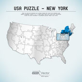 USA map puzzle - One state-one puzzle piece - New York, Albany — Stock Vector