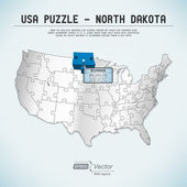 USA map puzzle - One state-one puzzle piece - North Dakota, Bismarck — Stock Vector