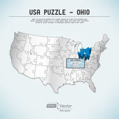 USA map puzzle - One state-one puzzle piece - Ohio, Columbus — Stock Vector