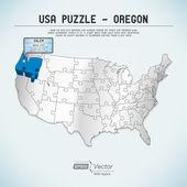 Usa karte puzzle - ein staat-ein puzzle stück - oregon, salem — Stockvektor