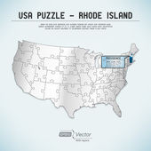USA map puzzle - One state-one puzzle piece - Rhode Island, Providence — Stock Vector