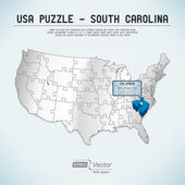USA map puzzle - One state-one puzzle piece - South Carolina, Columbia — Stock Vector